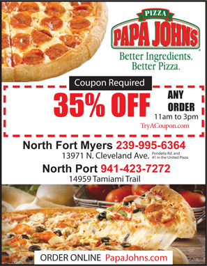 Papa Johns Pizza Coupon North Fort Myers and North Port Local Deals Coupon Book